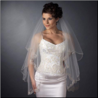 Albemarle Waltz Length Double Layer Embroidered Edge Veil