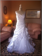 Alfred Angelo Ball Gown with Ruching and Comfortable Shoulder Straps in stock size 20