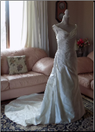 Alfred Angelo Elegant Ivory Satin Wedding Gown in stock size 8