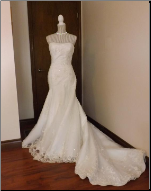 Alluring Embroidered Mermaid Style Wedding Gown in stock size 8