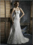 Appealing Lace over Satin Bridal Gown