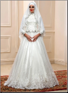 Arabic Beaded Lace High Neck Muslim Wedding Dress