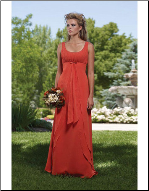 Bateau Neckline Satin Long Bridesmaid Dress