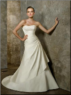 Beaded Bodice Satin Sweetheart Neckline Gown