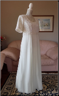 Beaded Chiffon Informal Wedding Gown with Short Sleeves in stock size 16