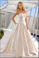 Beaded Satin Strapless Princess Style Wedding Gown