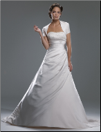 Beaded Strapless Satin Wedding Gown with Shrug