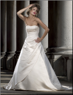 Beaded Strapless Satin Wedding Gown
