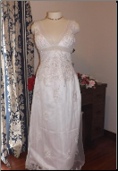 Beaded Wedding Gown with Lace-up Back in stock size 16