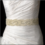 Pearl and Rhinestone Wedding Sash Bridal Belt
