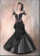 Black Goth Mermaid Off-the-Shoulder Wedding Gown
