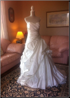 Brand New Ivory Strapless Satin da Vinci Wedding Gown in stock size 12