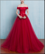 Breath-taking Off-the-Shoulder Organza Ball Gown