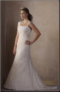 Bridal Gown of Satin and Tulle with Lace