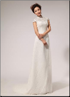 Simple Satin and Lace Bridal Gown with Mandarin Collar