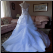 Cap Sleeve Embroidered Satin and Organza Wedding Ball Gown - showing back of gown and train