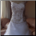 Cap Sleeve Embroidered Satin and Organza Wedding Ball Gown - showing bodice close-up