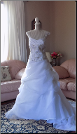 Cap Sleeve Embroidered Satin and Organza Wedding Ball Gown in stock size 14