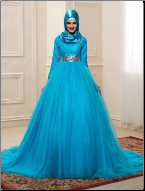 Charming Beaded Tulle Long Sleeve Muslim Wedding Dress with Hijab