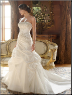 Charming Embroidered Taffeta Wedding Gown