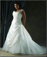 Lace and Taffeta Plus Size  Wedding Gown