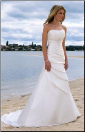 Charming Satin A-Line Strapless Beach Wedding Gown