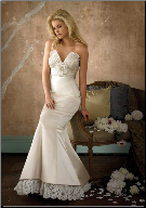 Charming Satin and Lace Bridal Dress