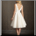 Satin and Tulle Tea Length Graduation Dress, back view showing deep plunging neckline