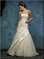 Charming Taffeta and Lace Wedding Gown