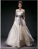 Chic Satin and Organza Wedding Dress