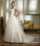 Chic Satin and Organza Wedding Gown