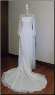 Chiffon Medieval Style Bridal Gown in stock size 8