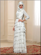 Chiffon Tiered Long Sleeve Muslim Wedding Dress with Hijab