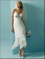 Chiffon V-Neckline Tea Length Wedding Dress