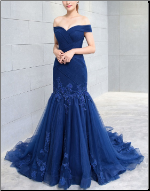 Chiffon and Organza Fit-and-flare Off-the-Shoulder Gown