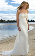 Chiffon and Satin Empire Line Beach Wedding Dress