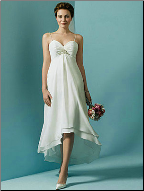 Chiffon over Satin High-Low Wedding Dress