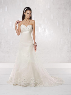 Classic Empire Waist Organza and Lace over Satin Wedding Gown