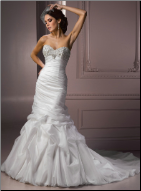 Classic Mermaid Style Strapless Satin and Organza Gown