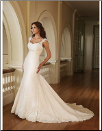 Classic Satin and Lace Wedding Gown