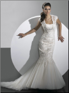 Classic Satin and Tulle Mermaid Style Gown with Lace Jacket