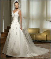 Classy Satin and Lace Bridal Gown