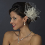 Rhinestone and Crystal Bead Feather Fascinator
