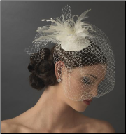 Russian Bridal Birdcage Veil Bridal Hat with Swarovski Crystal