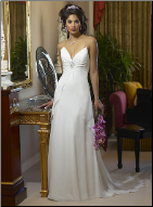 Column Sleeveless Chiffon Wedding Gown