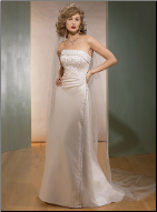 Column Strapless Satin Wedding Gown