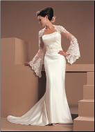 Column Style Satin and Lace Gown