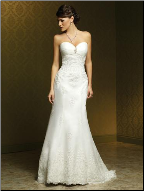 Column Style Strapless Lace Wedding Dress