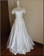 Off-the-Shoulder Forever Yours Bridal Gown in stock size 10
