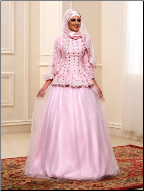 Delightful Tulle over Satin Muslim Wedding Dress with Hijab